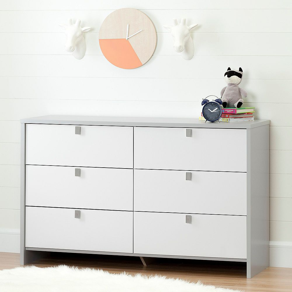 South Shore Cookie 6-Drawer Double Dresser, Soft Gray and Pure White