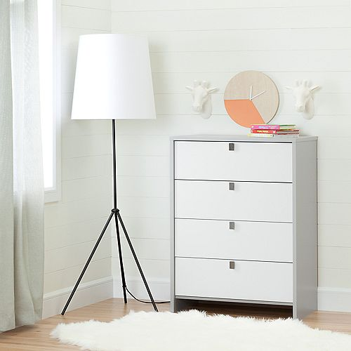 Cookie 4-Drawer Chest, Soft Gray and Pure White