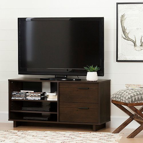Fynn TV Stand with Drawers for TVs up to 55'', Brown Oak