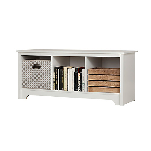 Vito 3-Cubby Storage Bench in Pure White