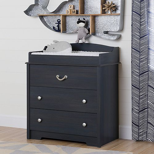 Aviron Changing Table with Drawers, Blueberry