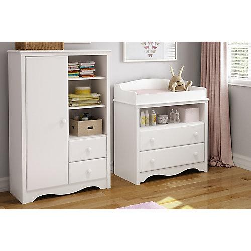 Table à langer et armoire avec tiroirs Angel, Blanc solide