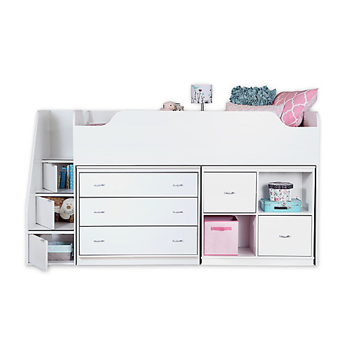 Mobby Twin Loft Bed with Chest and Storage Unit, Pure White