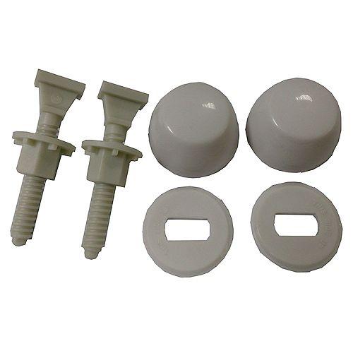 JAG pour les plombiers: Paquet contenant 12 kits de boulons de toilette en nylon.