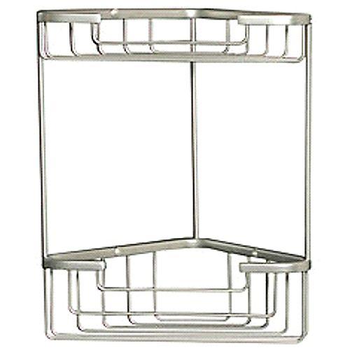 Accessoires de bain de style Wiretone: panier monté sur coin avec deux étagères en chrome poli