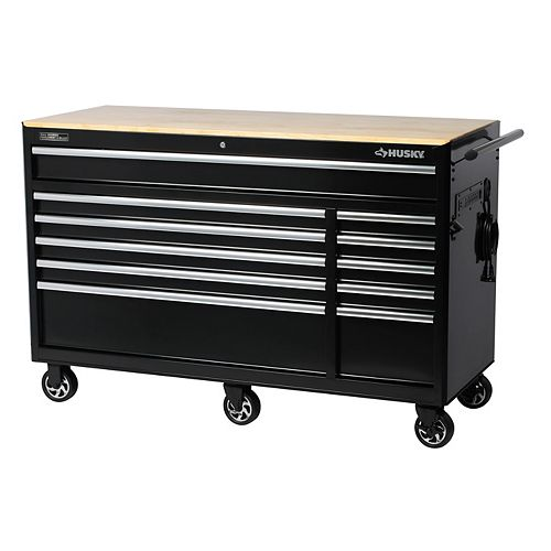 60-inch 11-Drawer Mobile Tool Storage Cabinet and Workbench with Solid Wood Top in Black