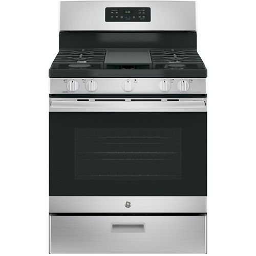 GE 30-inch 5.0 cu. ft. Single Oven Gas Range with Steam Clean Oven in Stainless Steel