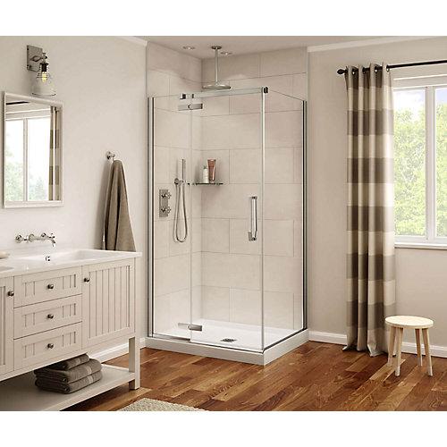 Porte de douche sans cadre rectangulaire Davana fini chrome 34 po x 42 po x 75 po