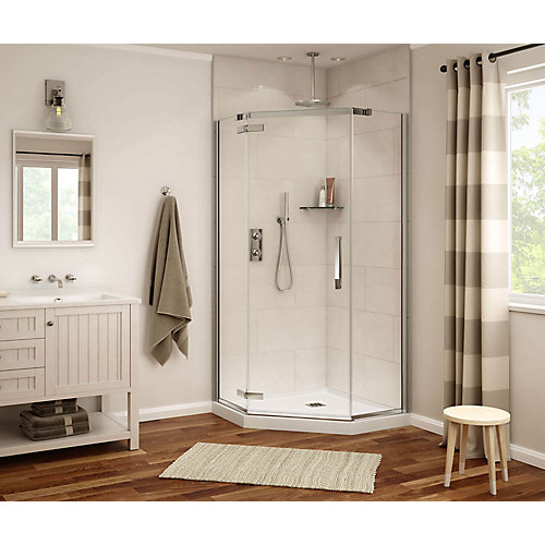 Davana Neo-Angle 40 inch x 40 inch x 75.75 inch Frameless Shower Door in Chrome