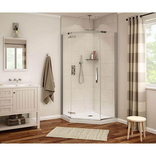 Davana 40 x 40 x 75 po. Porte de douche néo-angle à pivot sans cadre, fini chrome avec verre clair