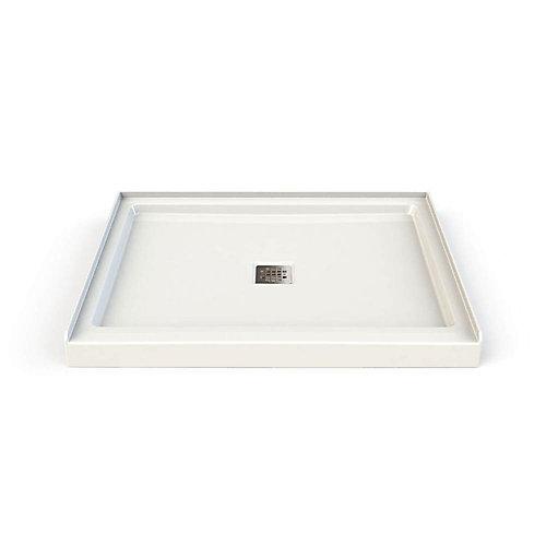 Base de douche rectanguliare en acrylique 42 po x 34 po x 3 po avec drain carré en blanc