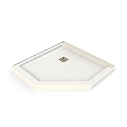Neo-Angle Shower Base 40 inch x 40 inch x 3 inch with Square Grid Drain in White