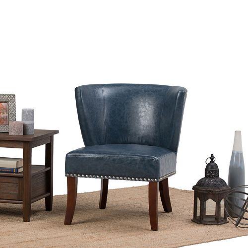 Jamestown Leather Curved Back Accent Chair in Blue