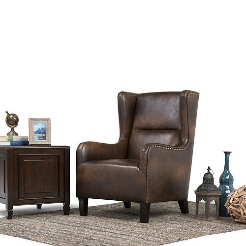 Taylor Brown Leather Wingback Accent Chair