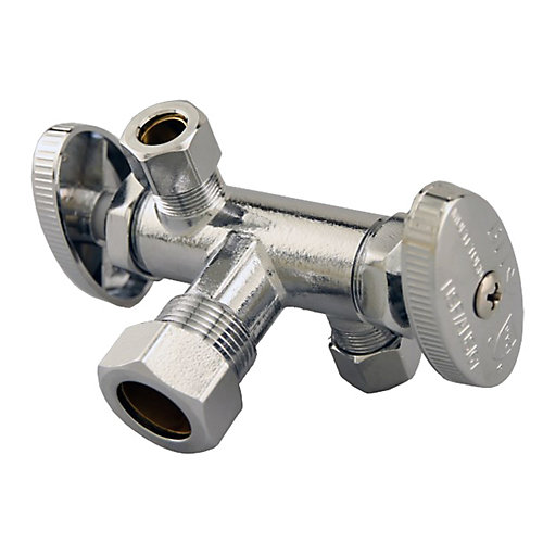Jag Plumbing Packs -5/8 Inch COMP x 3/8 Inch COMP x 3.8 Inch COMP Dual Outlet Shut off (2 -pack)