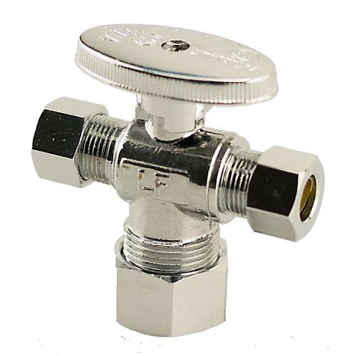 JAG pour plombiers- 1/2 po F x 3/8 po x 3/8 po COMP Vanne à double sortie et double arrêt (2 unités)