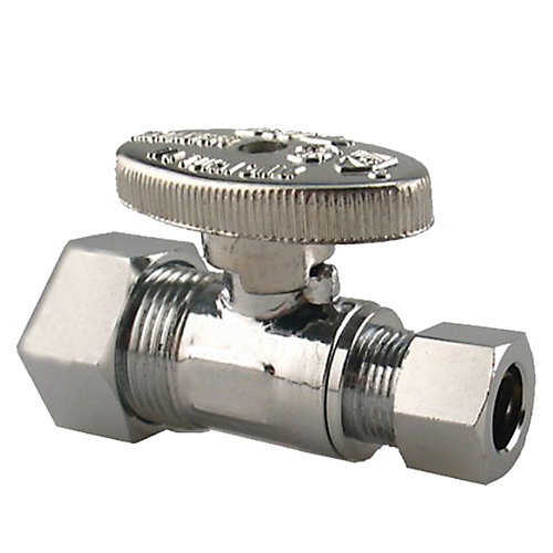 Jag Plumbing Packs -5/8 Inch COMP x 3/8 Inch COMP Straight shut off Valves(4 -pack)