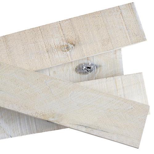 Planche en bois massif style bois de grange blanc délavé 1/2 po x 4 po x 4 pi (8 pièces)