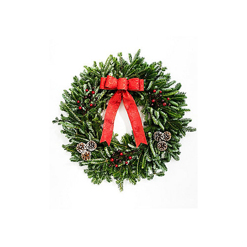 28-inch Decorated Christmas Wreath with Red Bow and Berries