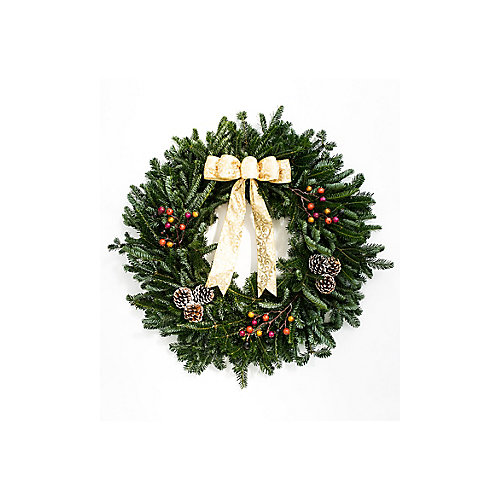 """Decorated Holiday Wreath 28"""" - Gold"""