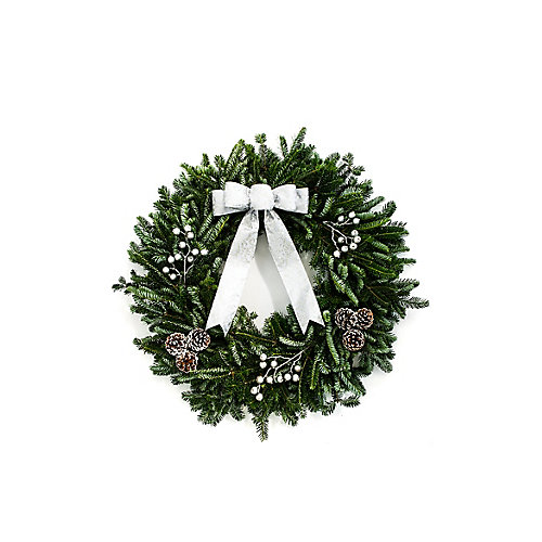 """Decorated Holiday Wreath 28"""" - Silver"""