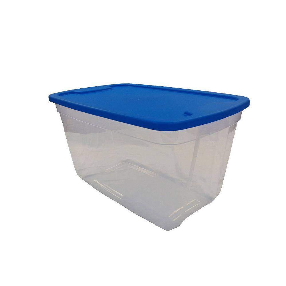 Edge Plastics Tote Clear Base Blue Lid, 76L