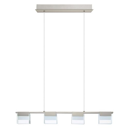 Vicino LED Pendant Light, Matte Nickel Finish with Clear & Frosted Glass