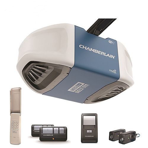 Chamberlain Smartphone-Controlled Ultra-Quiet & Strong Belt Drive Garage Door Opener w/MED Lifting Power
