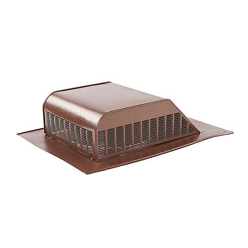 60 sq.-inch NFA Aluminum Slant Back Roof Louver Static Vent in Brown with Weather Filter