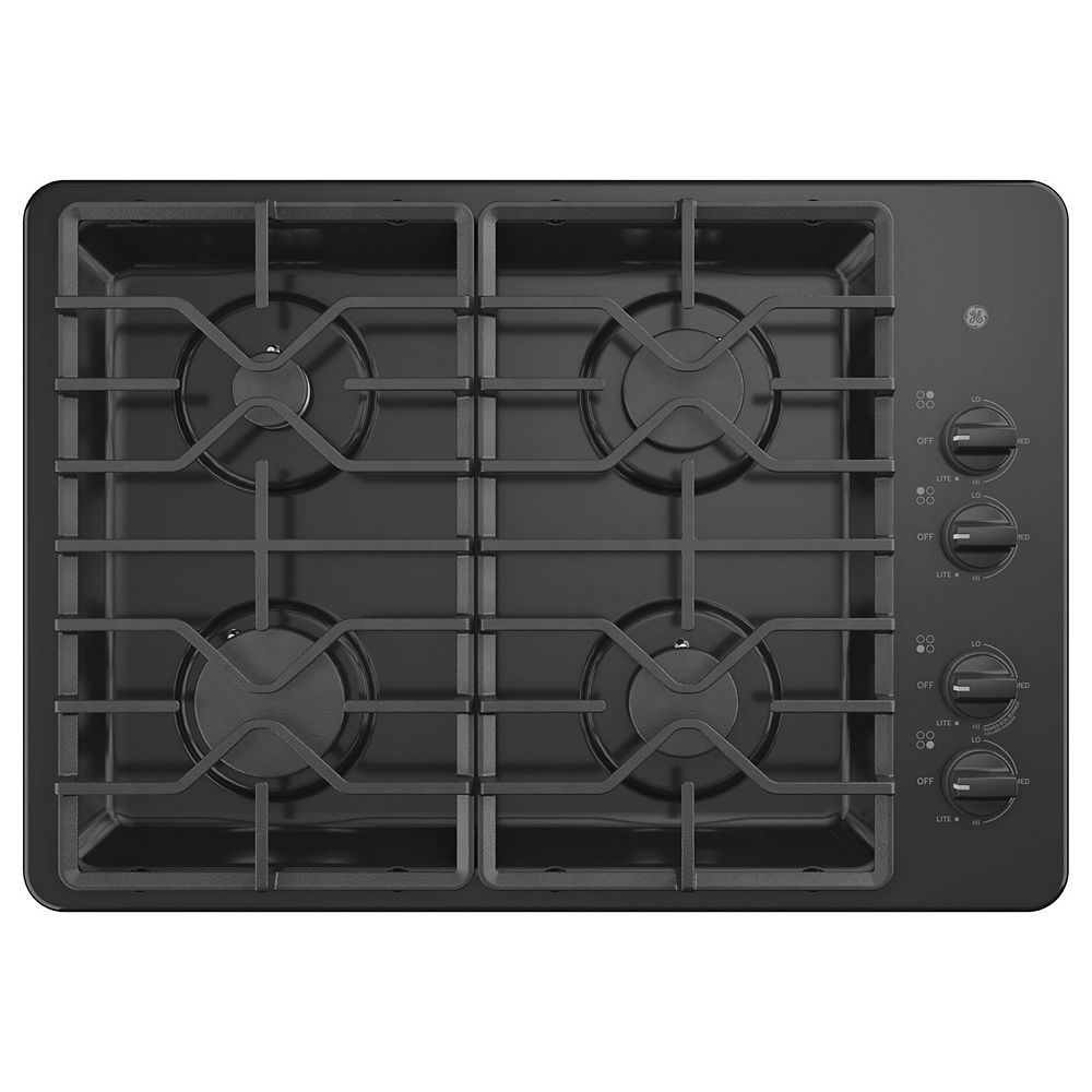 GE 30-inch W Gas Cooktop with 4 Burners Including Power Burners in Black