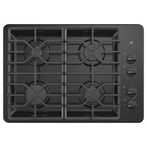 30-inch W Gas Cooktop with 4 Burners Including Power Burners in Black