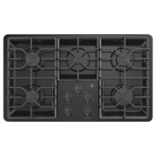 36-inch Built-In Gas Cooktop with 5-Burners including Power Boil Burners in Black