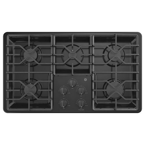 GE 36-inch Built-In Gas Cooktop with 5-Burners including Power Boil Burners in Black
