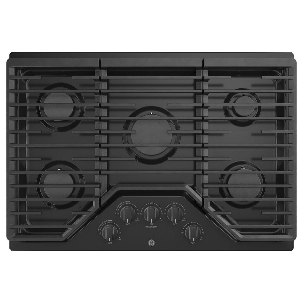 GE 30-inch W Gas Cooktop with 5-Burners including Power Burners in Black
