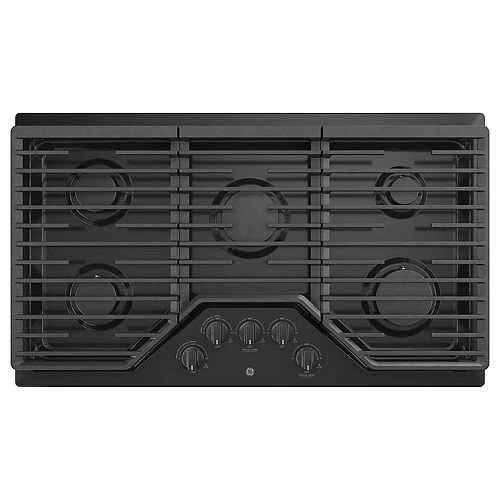 GE 36-inch W Built-In Gas Cooktop with 5-Burners including Power Boil Burner in Black