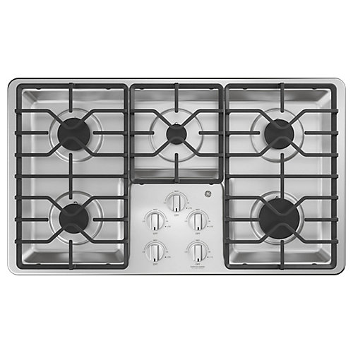 36-inch Built-In Gas Cooktop with 5 Burners including Power Boil Burners in Stainless Steel
