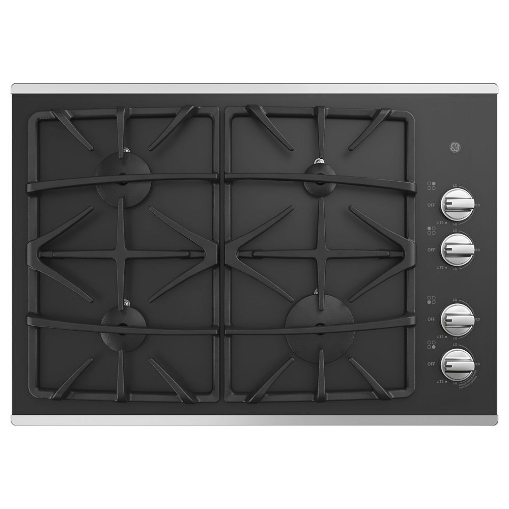 GE 30-inch W Gas Cooktop with 4-Burners including Power Boil Burner in Stainless Steel