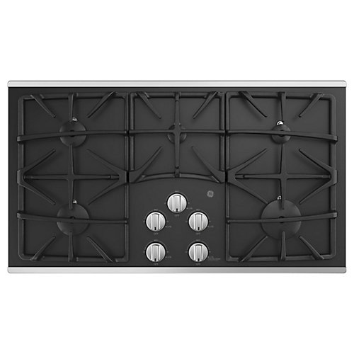 36-inch W Gas Cooktop with 5 Burners including Power Boil Burner in Stainless Steel