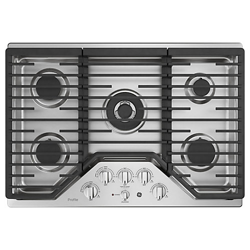 30-inch W Gas Cooktop with 5 Burners with Rapid Burner Technology in Stainless Steel