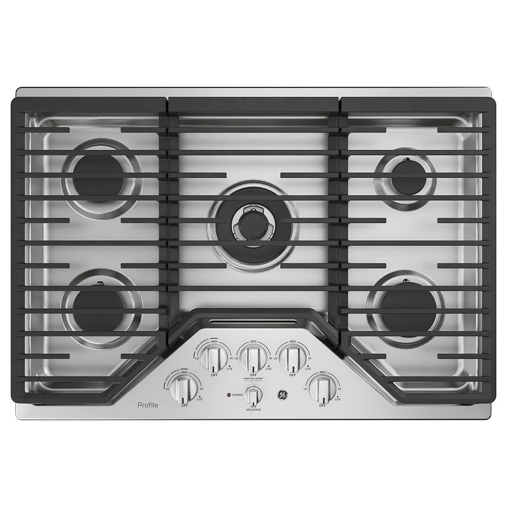 GE Profile 30-inch W Gas Cooktop with 5 Burners with Rapid Burner Technology in Stainless Steel