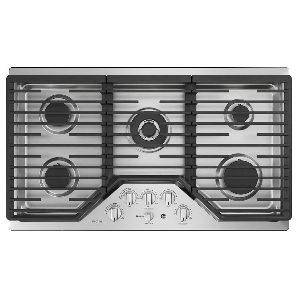 GE Profile 36-inch W Gas Cooktop with 5 Burners with Rapid Burners in Stainless Steel