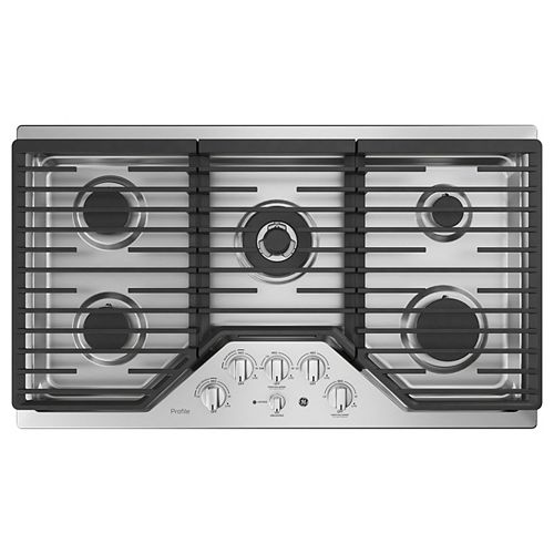 36-inch W Gas Cooktop with 5 Burners with Rapid Burners in Stainless Steel