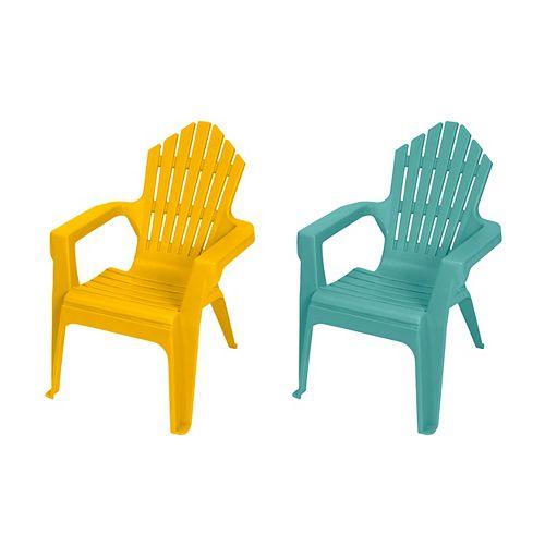 Kiddie Adirondack Chair, Teal & Yellow
