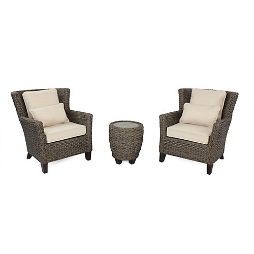 Megan Brown Seagrass Wicker 3 PC Ensemble de discussion