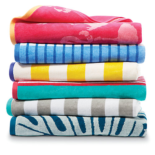 3.25 ft. 39-inch x 5.75 ft. 69-inch Velour Beach Towel (Assorted Colours)