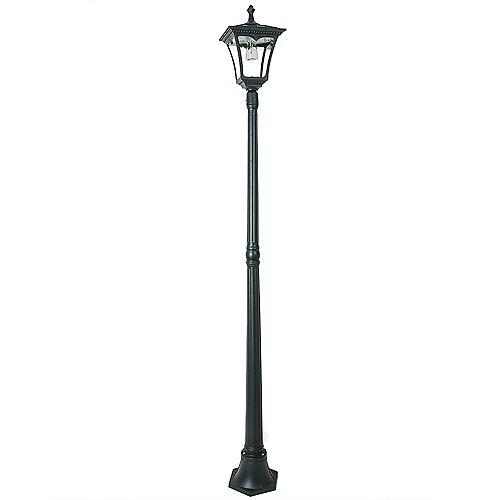 Lampadaire d'extérieur noir, solaire, à une ampoule DEL, 50lumen