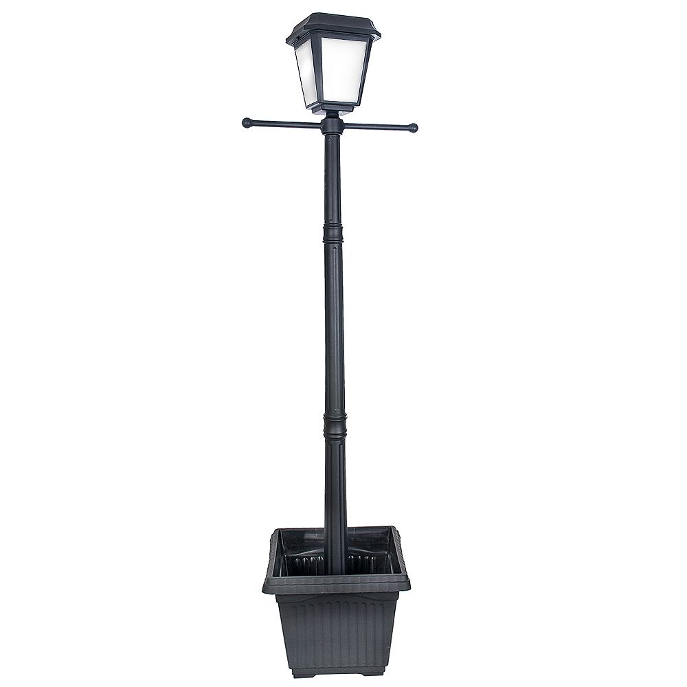Hampton Bay Lampadaire d'extérieur solaire noir, à une ampoule DEL, avec base carrée, en forme de jardinière