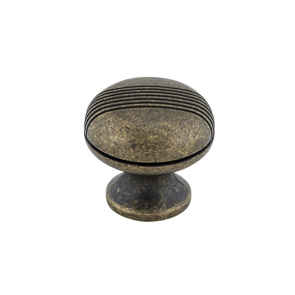 Richelieu 1 7/32 in (31 mm) Burnished Brass Traditional Cabinet Knob