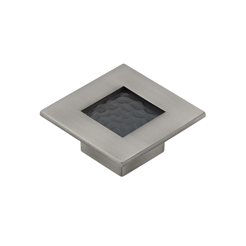 Richelieu Castelo Collection 2 3/8 in (60 mm) x 2 3/8 in (60 mm) Brushed Pewter Transitional Cabinet Knob