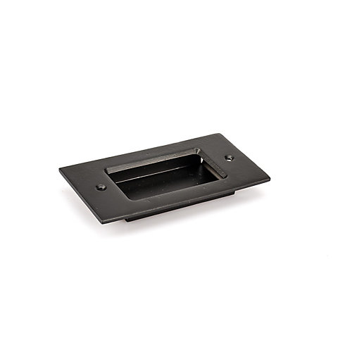 4 1/8-inch (104 mm) Center-to-Center Matte Black Traditional Cabinet Recessed Barn Door Pull